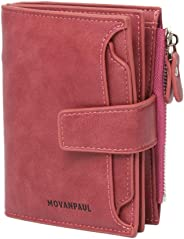 Women's Leather Wallet,RFID Blocking Leather Wallet Short Card Holder Purse with ID Window (Red)