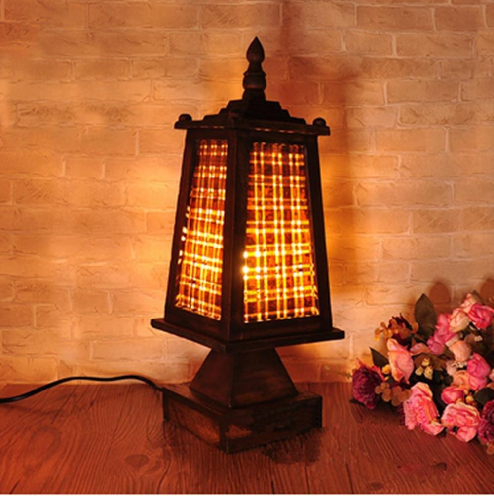 Lámpara de Mesa Lámpara de Escritorio Lámparas de Madera Inicio Retro Torre Inicio Madera Loft Protección para los Ojos luz de la Noche 508bd1