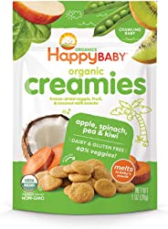 Happy Baby Organic Creamies Freeze-Dried Veggie & Fruit Snacks with Coconut Milk Apple Spinach Pea & Kiwi, 1 Ounce Bag (Pack