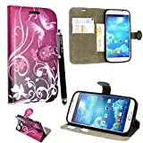 Samsung Galaxy S4 mini I9190 Case, Kamal Star® [ Butterfly Purple Book ] Premium PU Leather Magnetic Case Cover with ATM card and Note slots + Free Stylus