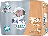 BBtips Sensitive, Recien Nacido, 160 Pañales (8 paquetes con 20 pañales)