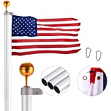 VIVOHOME 20 Feet Sectional Flag Pole Kit Aluminum Extra Thick Heavy Duty Outdoor with 3x5 Polyester American Flag and Golden