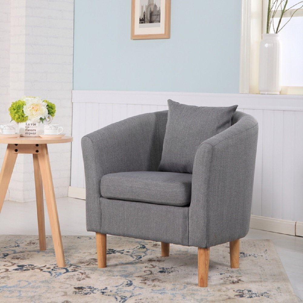 York Fabric Tub Chair Armchair Dining Living Room Office Reception Dark Grey