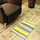 "HEBE Microfiber Bathroom Rugs Anti-skid Bath Mats Rugs Absorbent Floor Mats Doormat for Kitchen Bedroom,Living Room(18×26"", yellow/grey)"