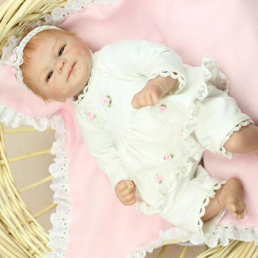Swiftswan 42cm Reborn Babypuppen mit schönen Blumenkleidung Kinder Geschenk Tuch Körper