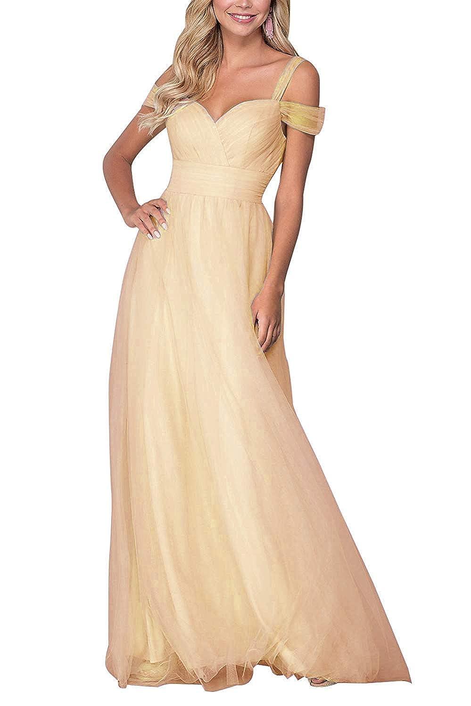 Champagne liangjinsmkj Bridesmaid Dresses Long Off Shoulder Ruffled Tulle Spaghetti Strap Prom Gowns for Women