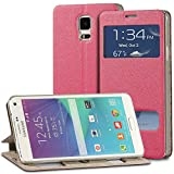 Fosmon® Samsung Galaxy Note 4 Case (OPUS-SWIFT) Premium PU Leather Folio Stand Case Cover with Built-in Flip Stand & Display Window for Samsung Galaxy Note 4 - Fosmon Retail Packaging (Hot pink)