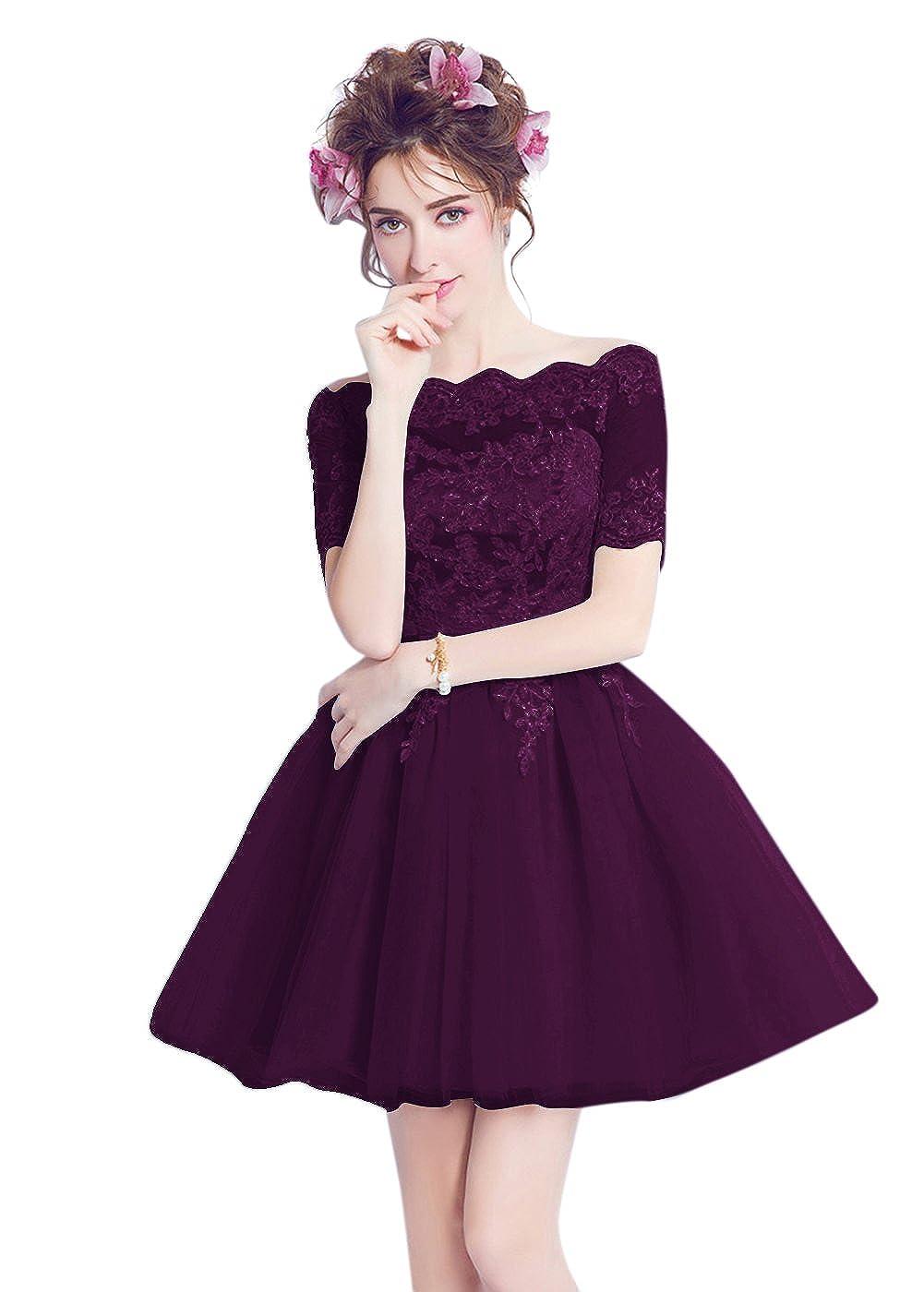 Grape BessWedding Women Appliques Sequins Lace up Sash A Line Short Prom Evening Dress