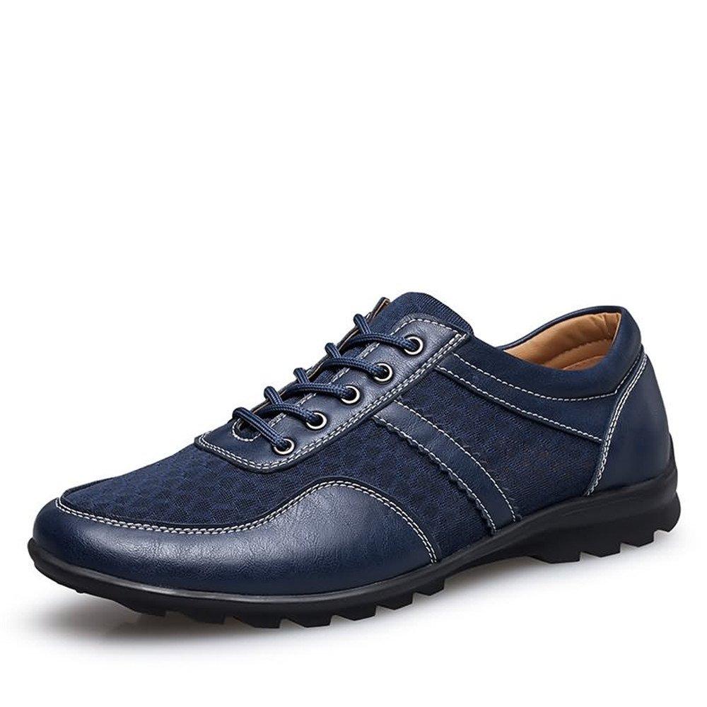 Blåa duoShengZhTG Mans Mans Mans Andningsbara skor Driver Loafer Flat Heel Mode Lace Up Solid Färg British Style Splice Vamodeable skor  kvalitetsprodukt