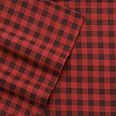 Cuddl Duds Heavyweight Queen Size Flannel Sheets (Red Buffalo Check) - 4 pc set (Fitted, Flat, & 2 x Standard Pillowcase)- Super Soft Flannel Sheet Set w/Deep Pockets. Many Sizes/Colors Available.
