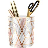 WAVEYU Pen Holder for Desk, Pencil Cup for Desk, Durable Ceramic Desk Organizer Makeup Brush Holder Golden Marble Design Penc