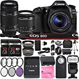 Canon EOS 80D DSLR Camera with EF-S 18-55mm f/3.5-5.6 IS STM Lens + EF-S 55-250mm f/4-5.6 IS STM Lens + 2Pcs 32GB SD Memory + Automatic Flash + Filter & Macro Kits + MUCH MORE!