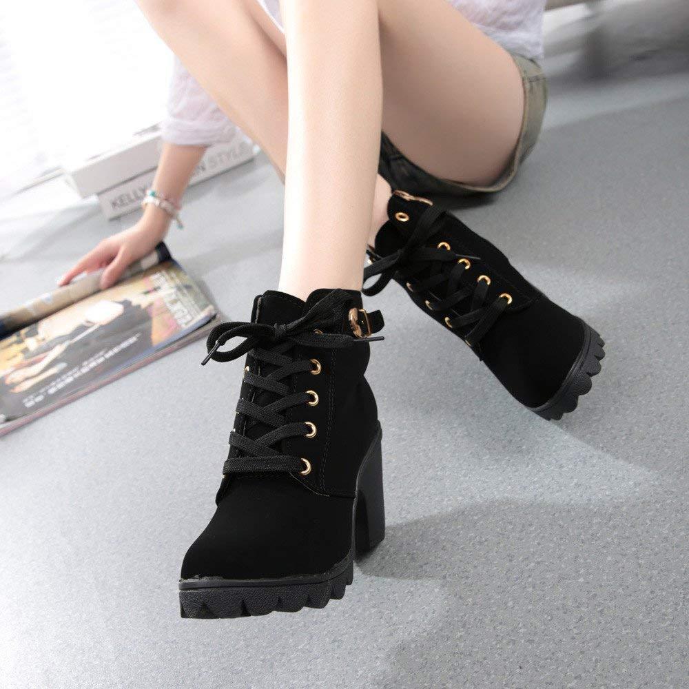 ZHRUI Stiefel Damen Damen Stiefel Schuhe Damenstiefel Mode High Heel schnüren Sich Ankle Stiefel Damen Schnalle Plateauschuhe Schnürstiefel Klassische Stiefeletten (Farbe   Schwarz, Größe   41 EU) 5d2079