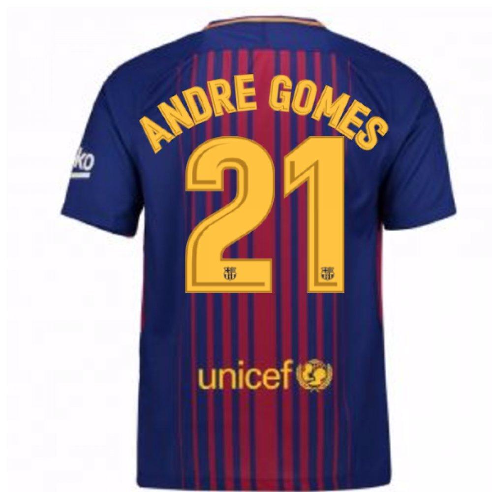 2017-2018 Barcelona Home Football Soccer T-Shirt Trikot (Andre Gomes 21) - Kids