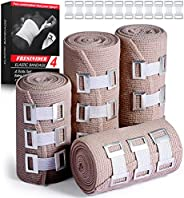 """FRESINIDER Elastic Bandage Wrap 4 Pack(2 X 3"""" + 2 X 4"""" Wide Rolls) + 24 Extra Clips   Cotton Durable"""