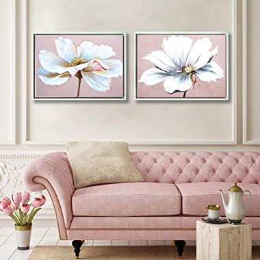 Large Modern Framed Wall Art Decor Flower Canvas Print Painting Picture with Hand Painted Texture for Living Room Bedroom Bathroom Girl Room White and Pink 16x24 x 2 Piece/Set