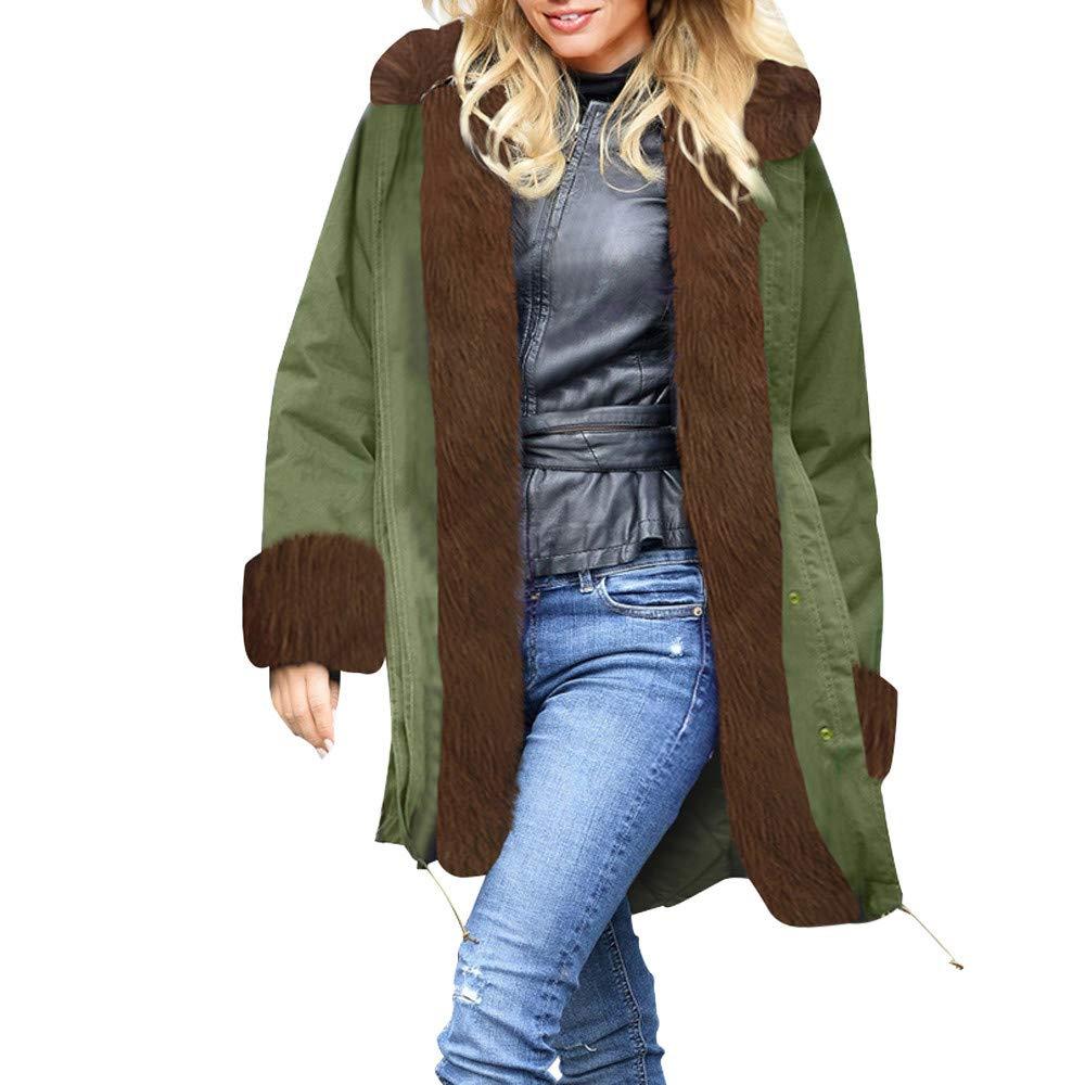 Army Green BETTERUU Womens Winter Jacket Parka Hooded Coat Fishtail Long Sleeves Overcoat