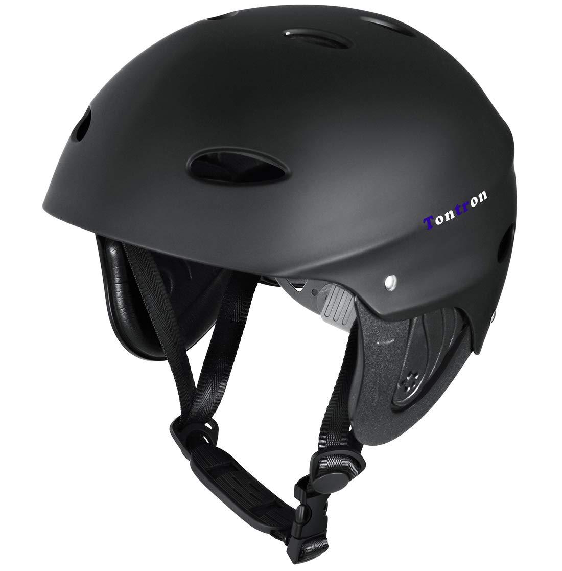 Tontron Adult Whitewater Kayaking Canoeing Bike Skate Multi-Sports Helmet (Matte X-Black, Large) by Tontron