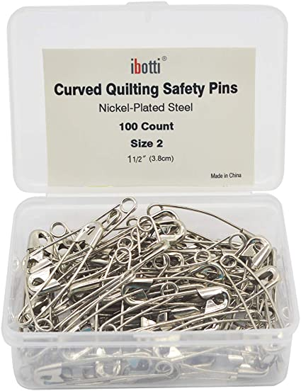 300 Count Size 1 Steel Dritz Quilting 3032 Curved Basting Pins Bonus Pack