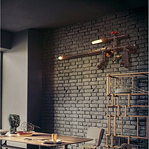LINA-Industrial Retro Vintage style Farmhouse Industry Steam Punk Water Pipe Wall Sconce wall light lamp Machine gun Wall lamp (8239cm) (7230cm) , l by LINA chandelier