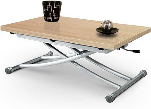 Table Basse Relevable Mirage Chêne Clair Avec Piston à Gaz