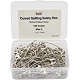 ibotti Curved Safety Pins for Quilting, Basting Pins, Size 2, 100-count