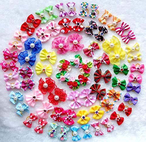 - 50pcs/pack Cute New Dog Hair Bows Pairs Rhinestone Pearls Flowers Topknot Mix Styles Dog Bows Pet Grooming Products Mix Colors Pet Hair Bows Topknot Rubber Bands