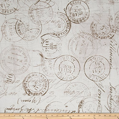 Tim Holtz Eclectic Elements 108in Quilt Backing Correspondence Taupe Fabric By The Yard