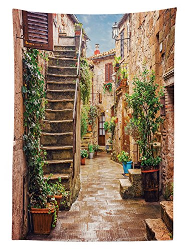 Tuscan Decor Tablecloth by Ambesonne, View of an Old Mediterranean Street with Stone Rock Houses in Italian City Rural Culture Print, Dining Room Kitchen Rectangular Table Cover, 60 X 84 Inches