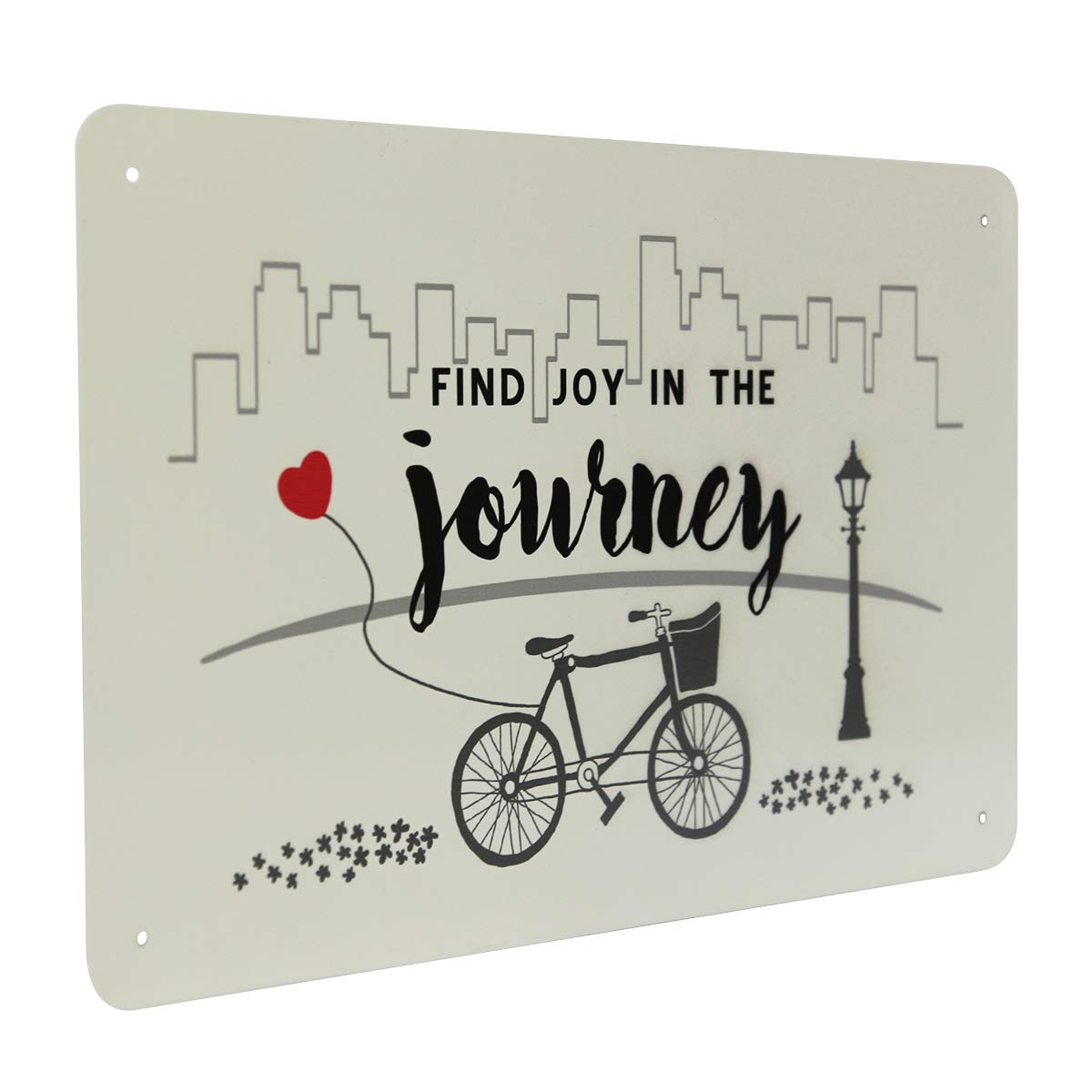 NIKKY HOME 15 x 9 Metal Wall Sign Plaque with Inspirational Quote Find Joy in The Journey Bicycle Decor