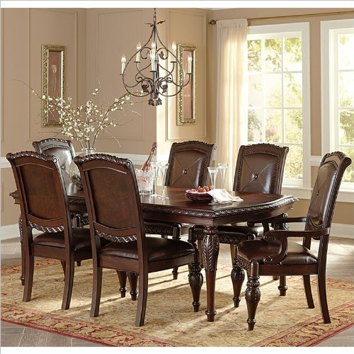 Steve Silver Company Antoinette 7 Piece Leg Dining Table Set in Cherry