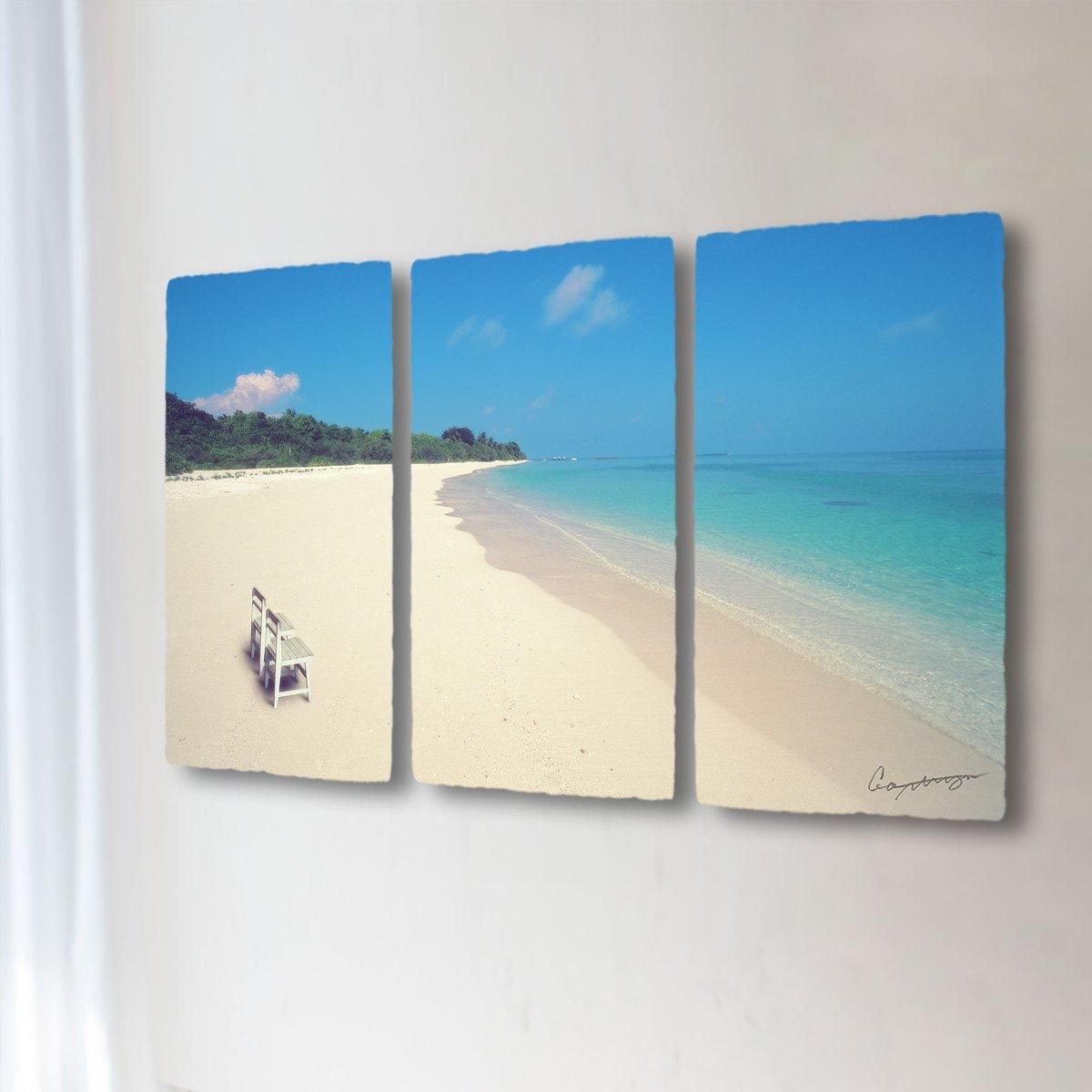 和紙 アートパネル 3枚 続き 「どこまでも続く珊瑚礁の砂浜と白い椅子」 (144x81cm) 結婚祝い プレゼント 絵 絵画 壁掛け 壁飾り インテリア アート B0736NDPQH 36.アートパネル3枚続き(長辺144cm) 250000円|どこまでも続く珊瑚礁の砂浜と白い椅子 どこまでも続く珊瑚礁の砂浜と白い椅子 36.アートパネル3枚続き(長辺144cm) 250000円