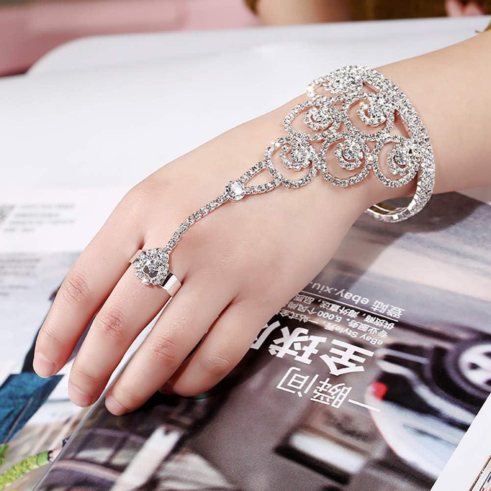 White Rhinestone Ouken 1PC Elegant Rhinestone Bracelet Hand Harness Bracelet Bangle Slave Chain Link Finger Ring Bracelet
