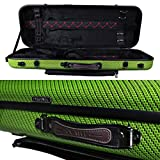 Tonareli Viola Oblong Fiberglass Case - Special Edition Green Checkered VAFO 1006 - Includes attachable music bag - Adjustable to over 18 inches