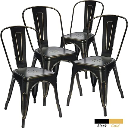 Devoko Metal Indoor Outdoor Chairs Distressed Tolix Metal Chair Black And  Antique Gold Stackable Dining Chairs