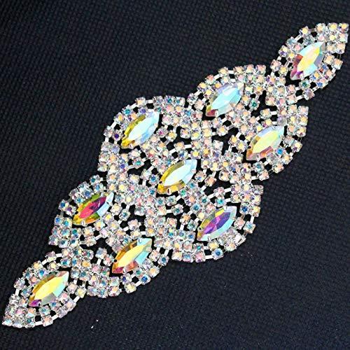 - Sinchi Kuzo 13.55.5cm Glass Crystal AB Rhinestone Applique Sivler Base DIY Wedding Dress Belt Shoulder Chain Sewing On Stone Decoration