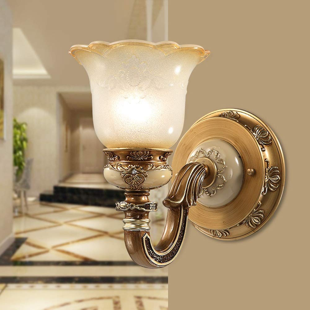 ZONA Elegent European Carved Antique Vintage Wall Lamp Bedroom Creative Bed Single Double Head Living Room Aisle Corridor Glass Lampshade Bracket Light Retro Gold Cozy (Edition : Single Head) by ZONA