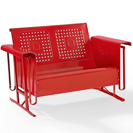 Nice Outdoor Loveseat Glider In Red Finish