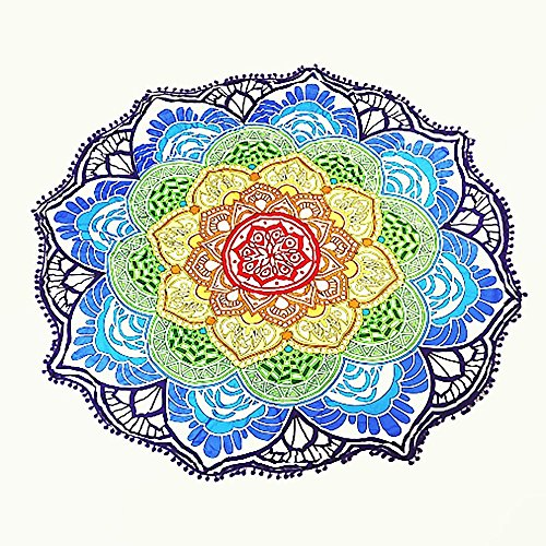 Round Beach Throw Tassel Decor With Small Balls Flowers Pattern 56u0027u0027  Circular Yoga Sheet Picnic Mat Hippie Table Cover Home Decor Tapestry Wall  Hanging