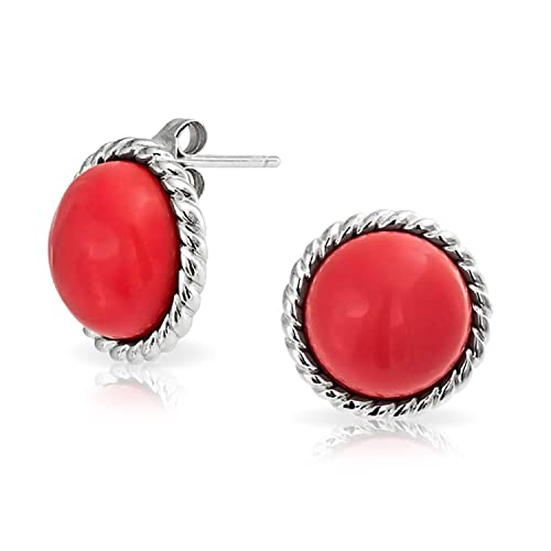 Orange soga retorcida conjunto embellecedor domo redondo sintético Botón Coral Stud Earrings plata esterlina 925 (