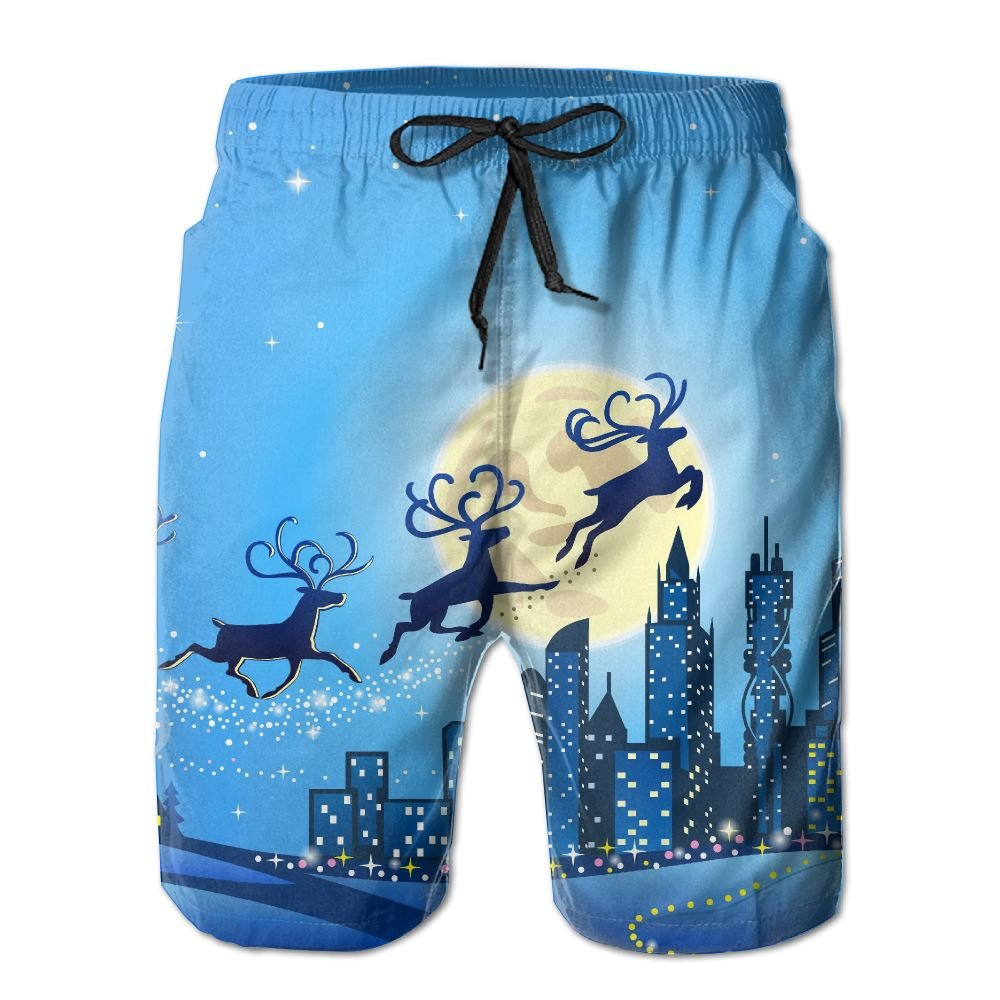 ZQ-SOUTH Mens Christmas Reindeer Santa Claus Quick Dry Summer Beach Surfing Board Shorts Swim Trunks Cargo Shorts