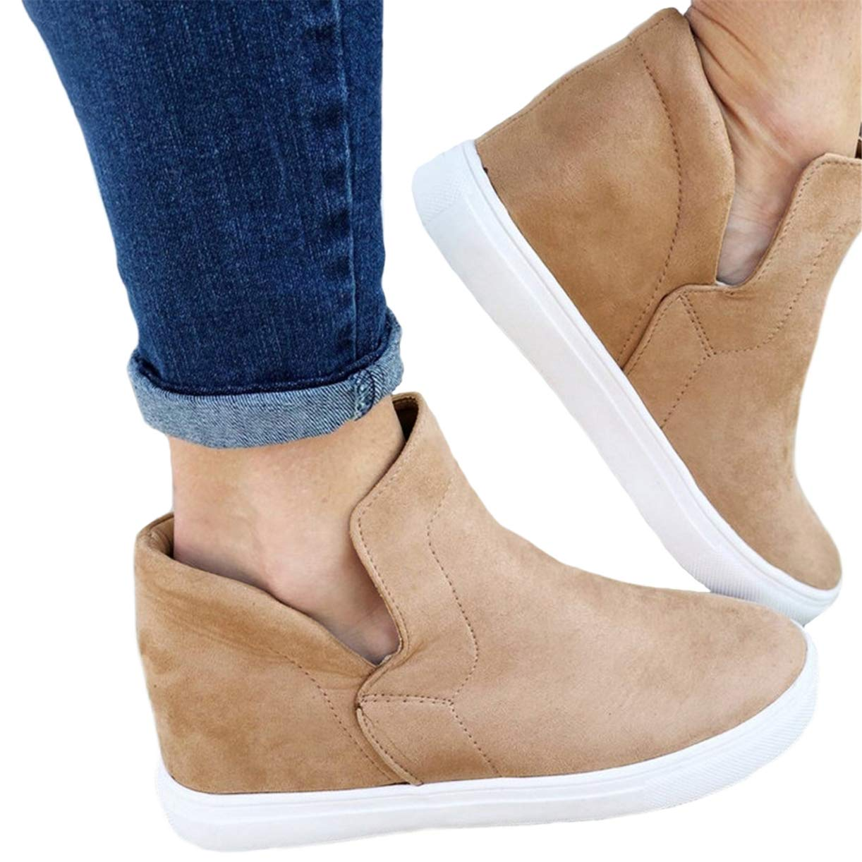 580e6be36054b Womens High Top Slip on Platform Sneakers Flatform Chelsea Booties Flat  Ankle Boots