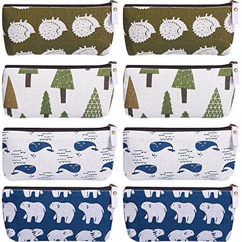 (TecUnite 8 Pieces Pen Case Pencil Bag Canvas Pencil Pen Case Pen Holder Cosmetic Makeup Bag Set (Forest Style))