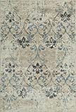 5×7 Neutral Rug Transitional Living Room Carpet, 4-Foot 11-Inch X 7-Foot 5-Inch Distressed Vintage Inspired Damask Dining Room Rug