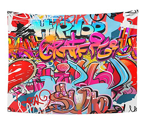 Emvency Tapestry Grafiti Graffity Wall Hip Hop of Funky Grafitti Urban Graffiti Street Design Home Decor Wall Hanging 60