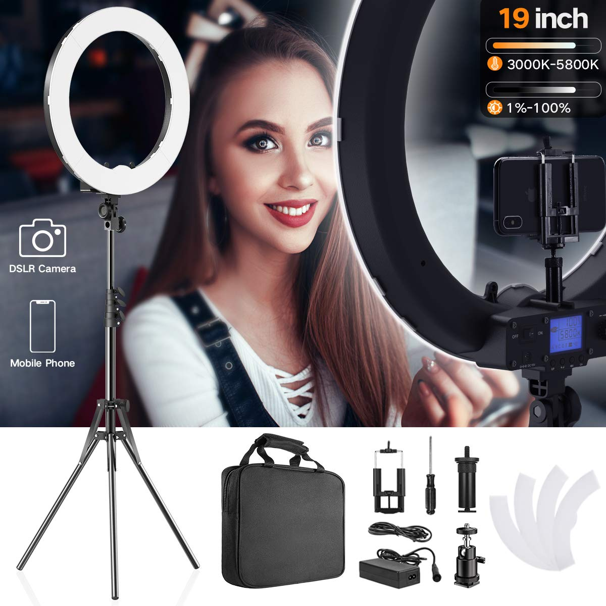 PIXEL 19 Inch Ring Light with Stand, 55W MultiTemp 3000-5800K Dimmable Circle LED Lighting for Selfie Makeup Videos, Built-in 2.4G Receiver w/UL Listed AC Adapter
