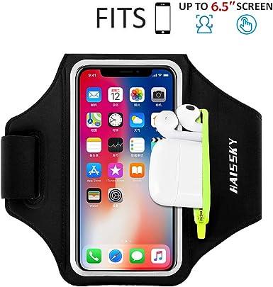 Versión mejorada] Brazalete para correr para iPhone 11/11 Pro/XR/XS/8/7, Samsung S10/S9/S8, Sport Running Gimnasio teléfono celular con huella dactilar y ranura de cremallera para iPhone de 6.5 pulgadas: Amazon.es: Electrónica
