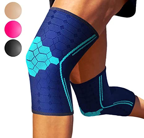 Sparthos Knee Compression Sleeves by (Pair) – Joint Protection and Support  for Running, Sports, Knee Pain Relief – Knee Brace for Men and Women –
