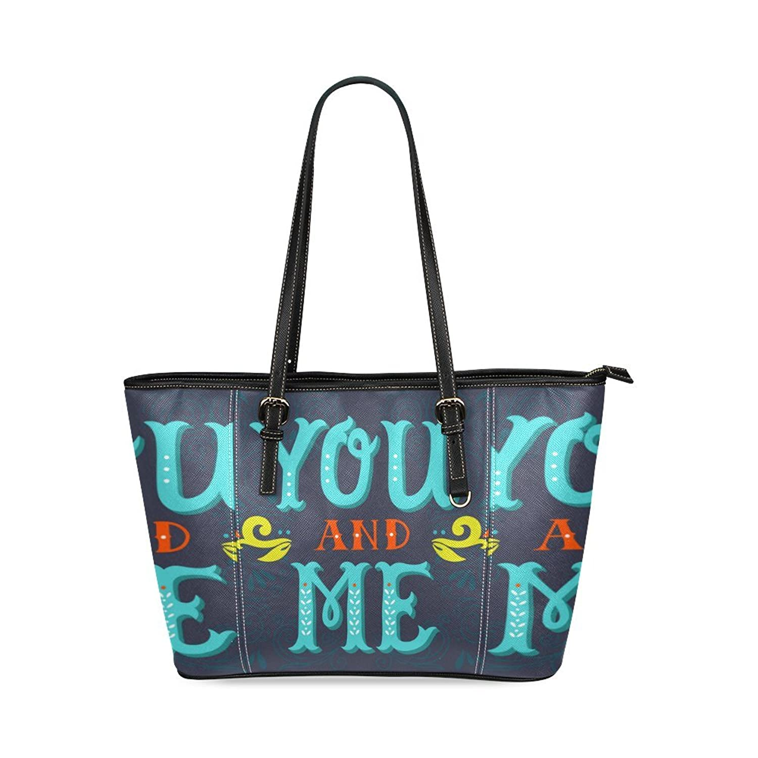 SLsenD Women's You And Me Letter Leather Tote Bag Shoulder Bags