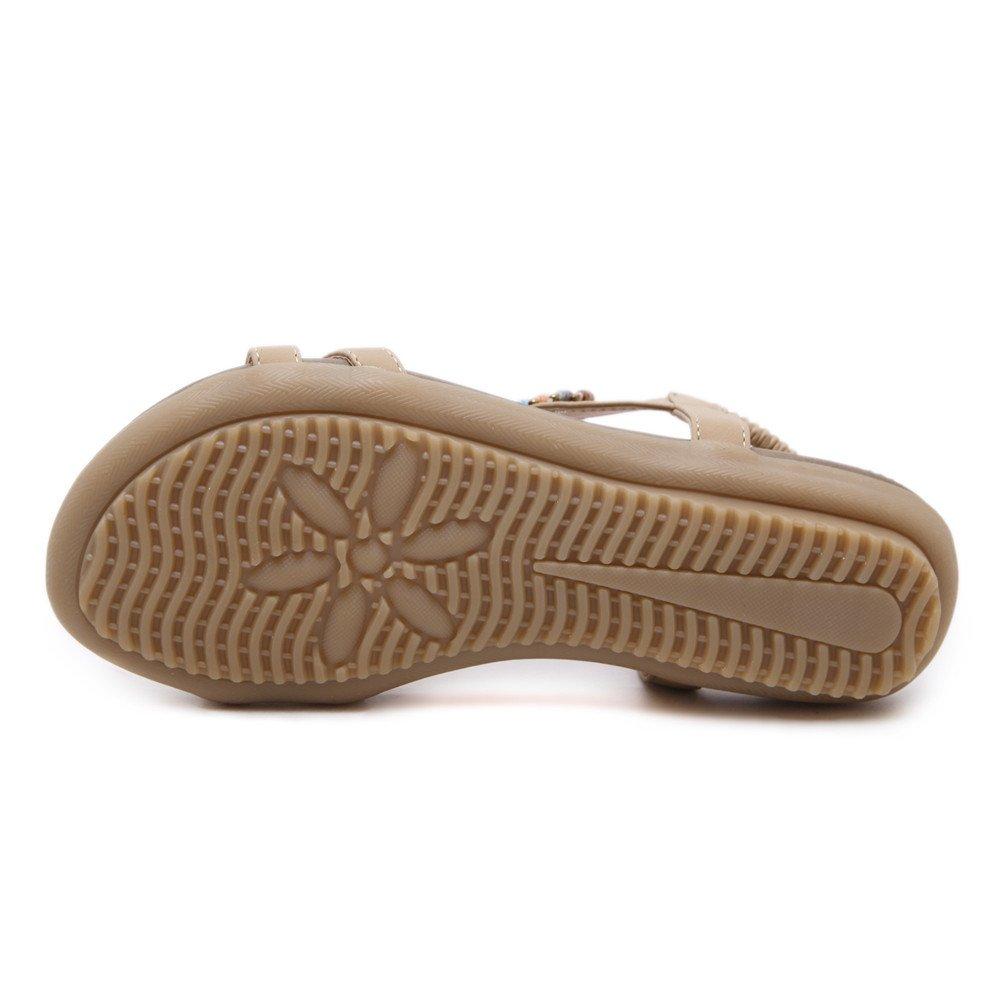 MAKEGSI Women Summer Sandals Beaded Flip Flop Flats Plus Size Shoes US 11.5